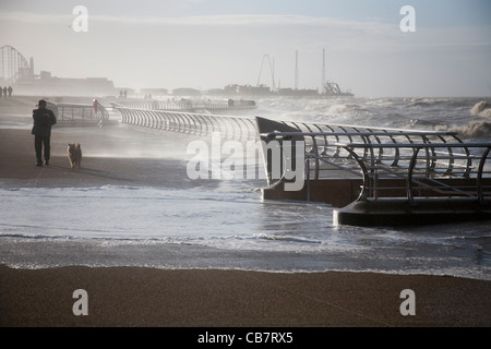 Man walking Dog during Rough Stormy Weather on Blackpool Seafront High tide Blackpool - Stock Photo