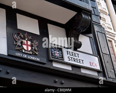 Road sign for Fleet Street in the City of London EC4 UK - Stock Photo