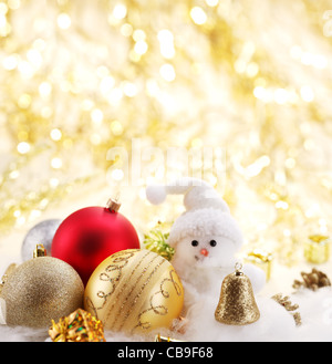 Christmas balls with a snowman - Stock Photo