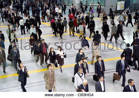 overhead view of commuters Tokyo Japan - Stock Photo