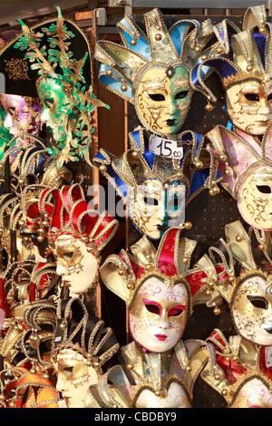 Venetian carnival masks on sale in Venice, Italy, Europe. - Stock Photo