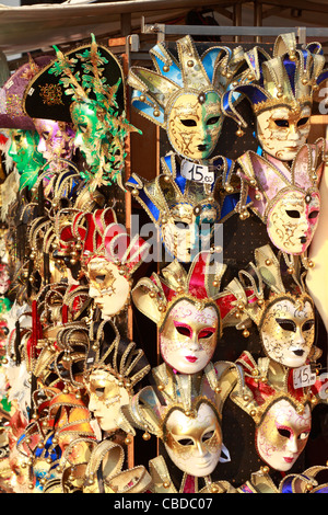 Venetian carnival masks on sale in Venice, Italy, Europe. - Stock Photo
