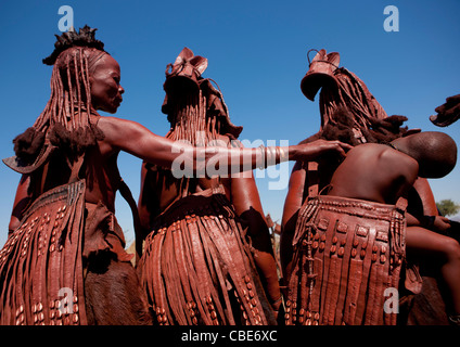 Muhimba Women With Aprons, Village Of Elola, Angola - Stock Photo