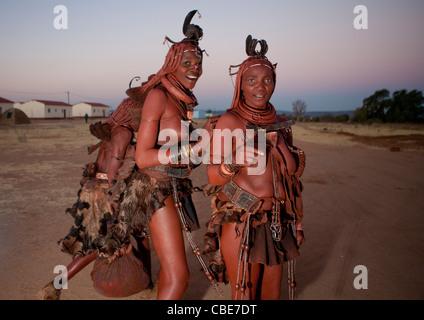 Himba Women In The Village Of Oncocua, Angola - Stock Photo
