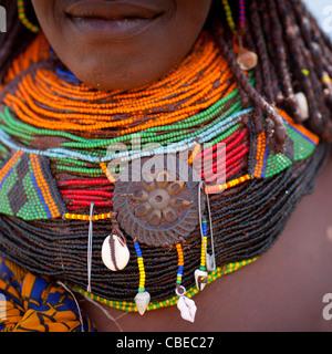 Mwila Woman Wearing The Vilanda Necklace, Chibia Area, Angola - Stock Photo
