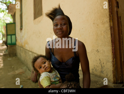 Woman With Her Child, Village Of Dombe Grande, Angola - Stock Photo