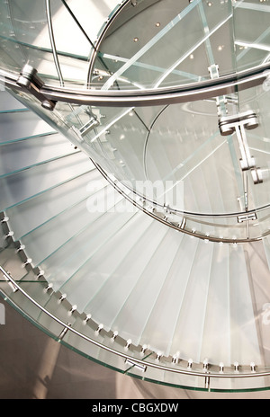 Abstract view of a spiral stair case from above - Stock Photo