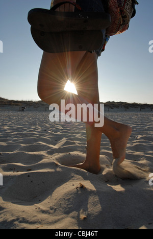 Young woman walking in Levante Beach - Platja de Llevant -, Formentera - Stock Photo