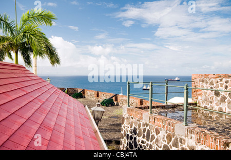 cannons over harbor Fort Oranje Oranjestad Sint Eustatius island in the Caribbean Netherlands - Stock Photo