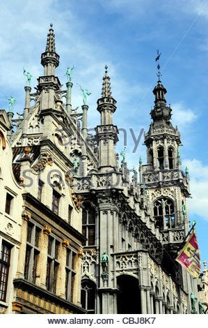 Maison du Roi at the Grand Place, the Broodhuis on the Grote Markt square, Brussels, Belgium, Europe - Stock Photo
