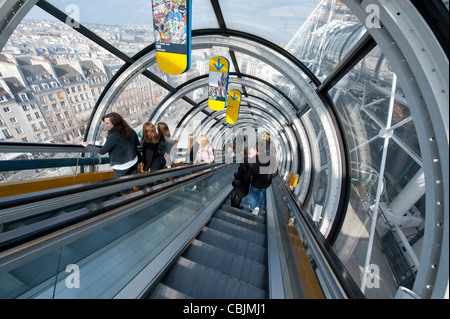 The escalator of the Centre Georges Pompidou in Paris, France. - Stock Photo