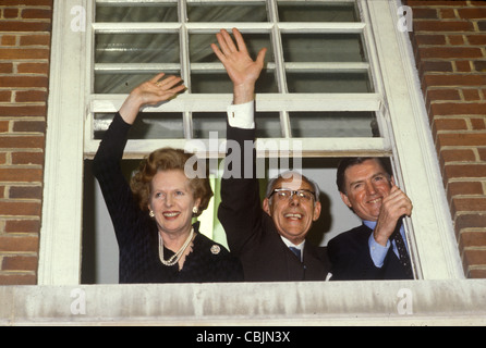 Mrs Maggie Margaret Thatcher Central Office celebration after victory at the General Election 1983. London Uk . - Stockfoto
