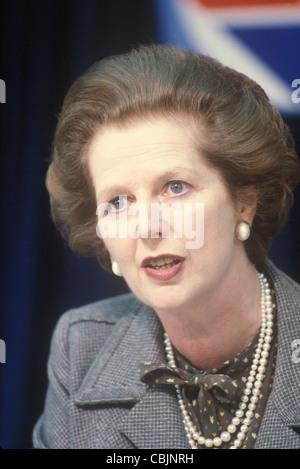 Mrs Margaret Thatcher 1983 General Election press conference London UK 1980s. - Stock Photo