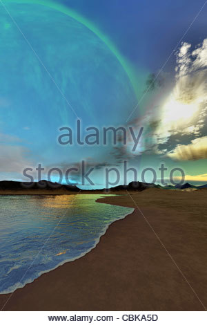Beautiful skies shine down on this cosmic seascape. - Stockfoto