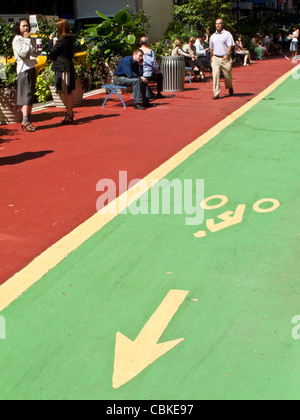Bike Lane and Pedestrian Open Space, Broadway,NYC - Stock Photo