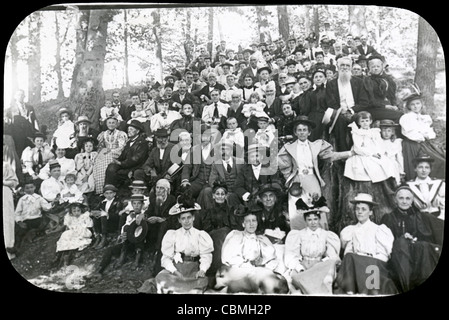 Circa 1900 antique photograph marked Family Picnic, Akron, Ohio., USA. Original source photo has a slight soft focus. - Stock Photo