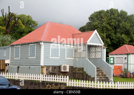 typical house architecture gingerbread trim capital Oranjestad St. Eustatius Statia Dutch Netherlands Antilles island - Stock Photo