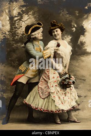 18th Century Upper Class Couple Flirting - Stockfoto