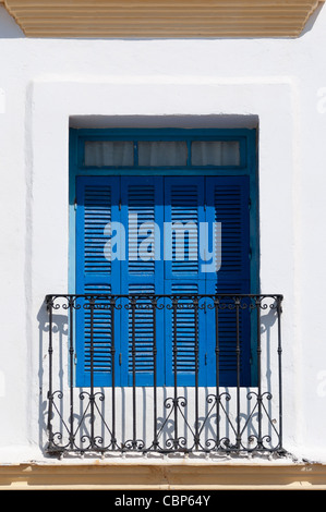 Window with blue shutters in Essaouira,Morocco - Stock Photo