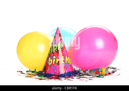 Birthday party decorations isolated on white. - Stock Photo