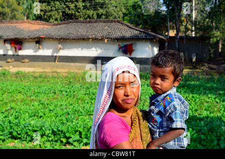 Happy woman with her son - Stock Photo
