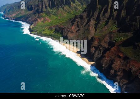 The Na Pali coast from the sky, Kauai Island, Hawaii, USA - Stock Photo