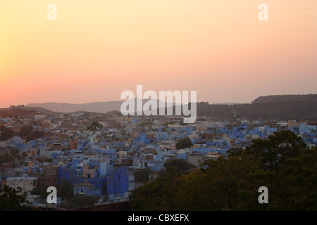 Blue painted houses, as seen from Mehrangarh Fort in Jodhpur, Rajasthan in India. Jodhpur is known as the blue city. - Stock Photo