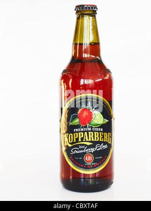 Bottle of Kopparberg cider isolated on white background - Stockfoto