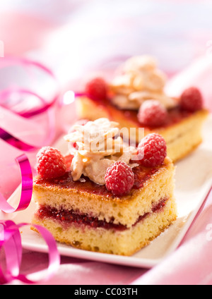 White Chocolate and Raspberry Cake - Stock Photo