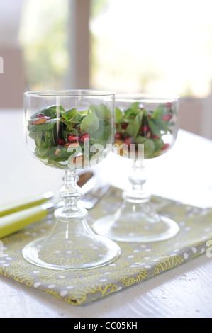 Lamb's Lettuce, Pomegranate and Pinenuts Salad - Stock Photo