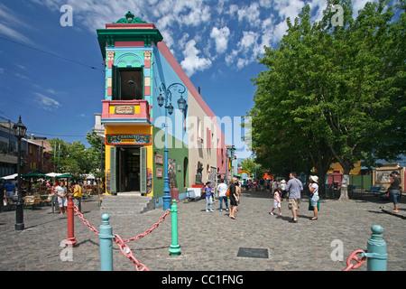 The Caminito of tango lore in the barrio La Boca, Buenos Aires, Argentina - Stock Photo