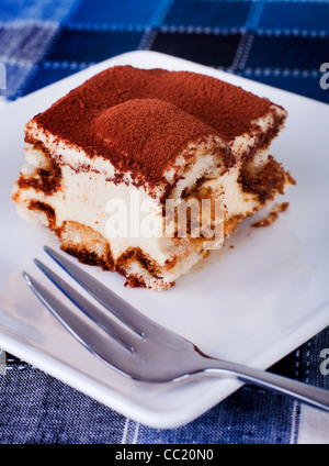 Portion of tiramisu on a plate. - Stock Photo