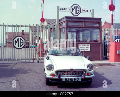 MGB Roadster sports car pictured outside the MG works factory in Abingdon Oxfordshire in 1978 - Stock Photo