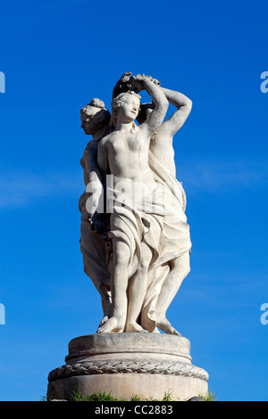 Statue of The Three Graces in Montpellier, France - Stock Photo