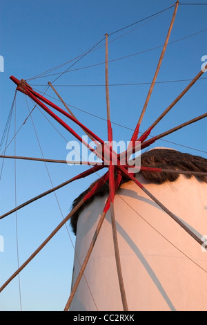 The iconic Mykonos windmills at sunset, Cyclades, Greece - Stock Photo