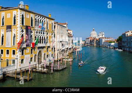 Italy, Veneto, Venice, Grand Canal, Santa Maria della Salute from Accademia Bridge - Stock Photo