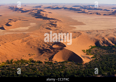 Desert meets green fertile land, Namib Desert, Namibia aerial view - Stock Photo