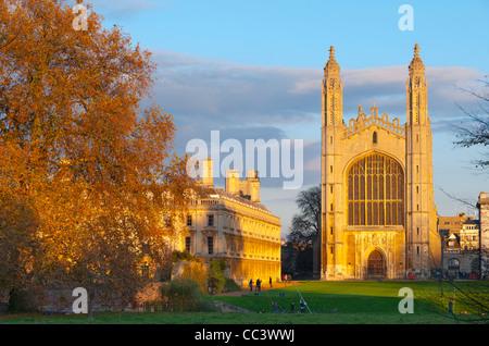 UK, England, Cambridgeshire, Cambridge, The Backs, King's College Chapel - Stock Photo