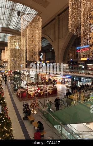 Leipzig Central Railway Station shopping arcade at Christmas. Saxony, Germany, Europe. - Stock Photo