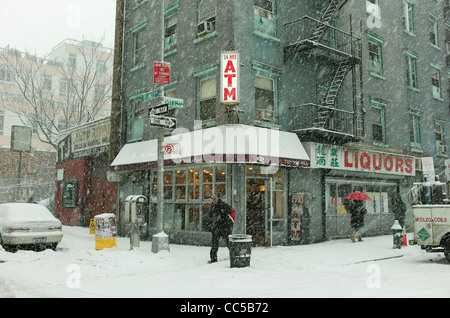 January 26th 2011: Snow seen falling  in the Lower east side of Manhattan in New York city, USA. - Stock Photo