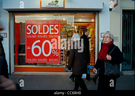 Paris, France, January Sales in Small Business Shops, 'Potiron' Housewares, Store Windows Signs - Stock Photo