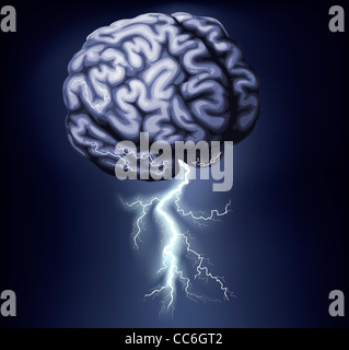 Illustration of a brain with lightning coming out of it. Concept for a brain storm - Stock Photo