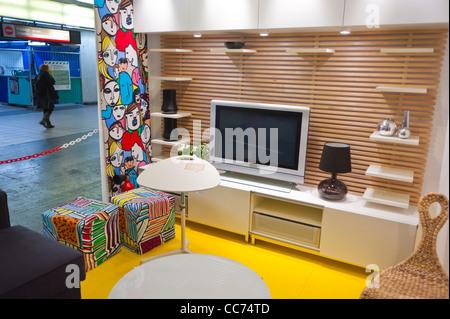 Paris, France, Unusual Advertising Furniture Shopping, Ikea Furniture Store, Apartment Installation, in Paris Metro, - Stock Photo