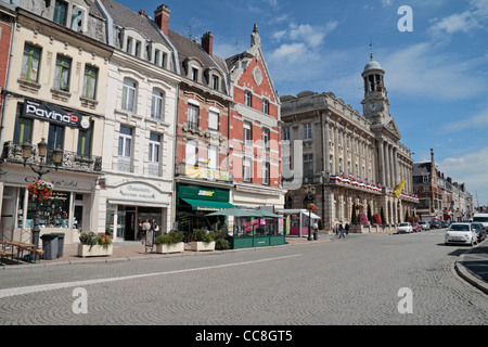 General view towards the Hotel De Ville (town hall/city hall) in Cambrai, Nord-Pas-de-Calais, France. - Stock Photo