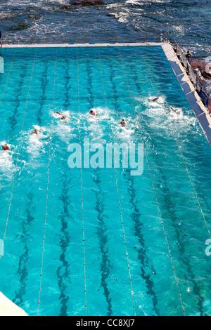 Pool at Bondi Icebergs Surf Life Saving at Bondi Beach Sydney with swimming race - Stockfoto