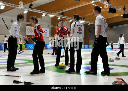 Team Great Britain lose 8-2 to Canada in the opening round of the Curling event at the first Youth Winter Olympic - Stock Photo
