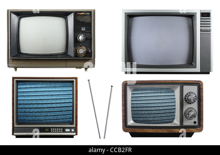Old vintage televisions with antenna isolated on a white background - Stock Photo