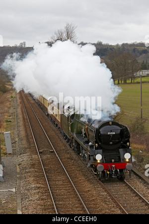 Merchant Navy Class Steam Engine Approaches Clapham
