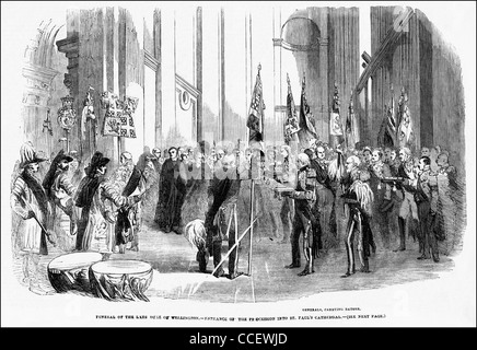 Victorian engraving circa 1852 funeral of the Duke of Wellington at St Paul's Cathedral London England UK - Stock Photo