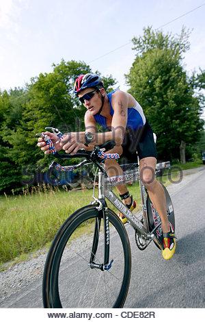 Jul. 28, 2002 - Lake Placid, New York, USA - Professional Triathlete, James Bonney, leads the race during the bike - Stock Photo